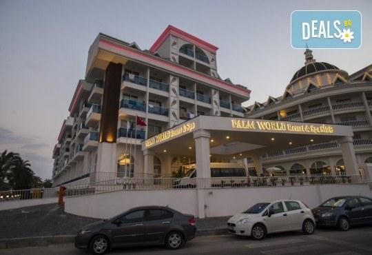 Почивка в Анталия през април или май! 7 нощувки на база All Incl в Palm World Side Resort & SPA 5*, билет, летищни такси и трансфери! - Снимка 2