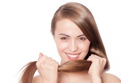 Масажно измиване на косата, поставяне на ампула за заздравяване на косъма, оформяне със сешоар или преса и бонус в студио за красота L Style! - Снимка