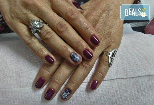 Класически или френски маникюр с гел лак Bluesky, 2 декорации с печати по избор и камъни с елементи на Swarovski, финален масаж на ръце от Dils Studio - Снимка 6