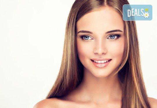 Кератинова терапия и ламиниране на коса с JOIKO и оформяне в прическа - изправяне или букли в салон Bellisima - Снимка 2