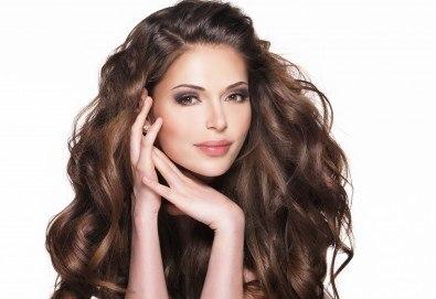 Кератинова терапия и ламиниране на коса с JOIKO и оформяне в прическа - изправяне или букли в салон Bellisima - Снимка