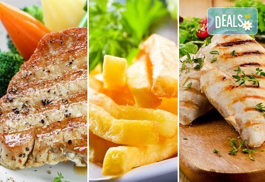 Вкусна скара за двама в ресторант BALITO! Две порции свински каренца или пилешко филе + зеле с моркови и картофи - Снимка 1
