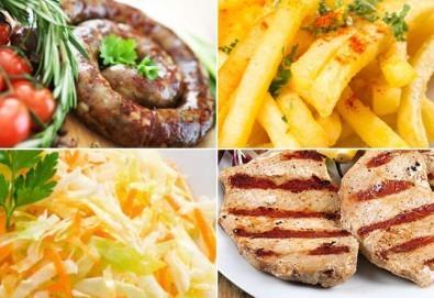 Апетитно в Balito! Две порции пресен телешки суджук на скара или свински каренца на скара с гарнитура картофки и зеле с моркови! - Снимка