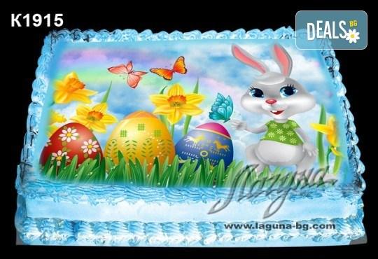 Великденска торта с картинки на зайчета, рисувани яйчица и много пролетно настроение, избор от 20 фото-картинки от Виенски салон Лагуна! - Снимка 14