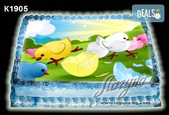 Великденска торта с картинки на зайчета, рисувани яйчица и много пролетно настроение, избор от 20 фото-картинки от Виенски салон Лагуна! - Снимка 3