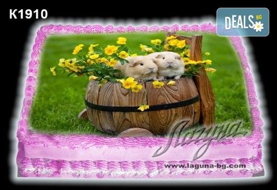Великденска торта с картинки на зайчета, рисувани яйчица и много пролетно настроение, избор от 20 фото-картинки от Виенски салон Лагуна! - Снимка 9