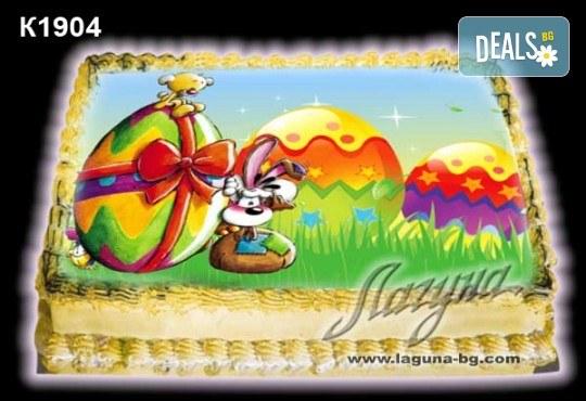 Великденска торта с картинки на зайчета, рисувани яйчица и много пролетно настроение, избор от 20 фото-картинки от Виенски салон Лагуна! - Снимка 1