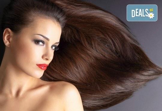 Полиране на коса, масажно измиване, терапия в 3 стъпки и изправяне с преса в салон Женско Царство - Център /Хасиенда/! - Снимка 1