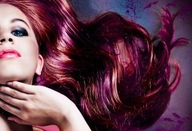 Oсвежете цвета на косата си боядисване с италианска боя Christian of Roma и оформяне със сешоар в студио за красота М - Снимка