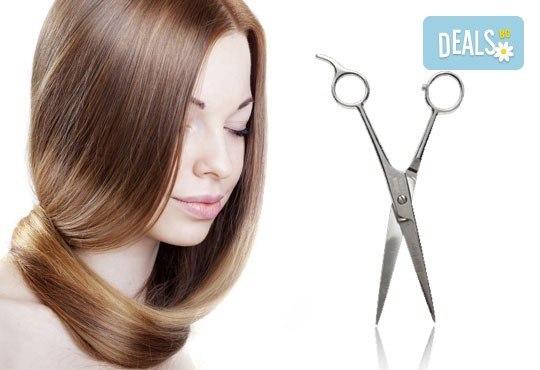 Подстригване с техника чрез увиване без скъсяване на дължината на косата, масажно измиване, маска и прическа в студио за красота LD - Снимка 1