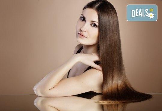Грижа за косата! Измиване, нанасяне на маска и оформяне със сешоар - прав или къдрав, в салон за красота Ева - Снимка 1
