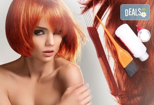 Нова прическа в свежи цветове, боядисване в стил Омбре, подстригване, масажно измиване, възстановяваща маска и прав сешоар в салон Diva! - Снимка 3