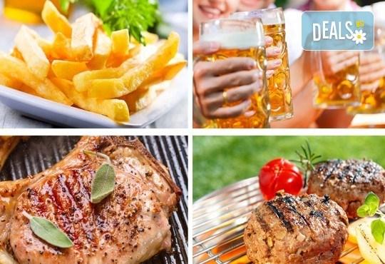 Плато Барбекю с пържени картофи, 2 телешки кюфтета, 2 свинска пържола, зеленчуци на барбекю и 2 бири в ресторант Saint Angel - Снимка 1