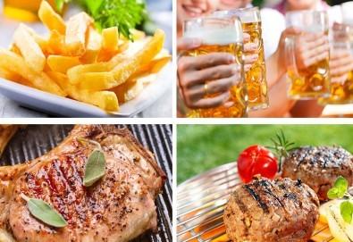 Плато Барбекю с пържени картофи, 2 телешки кюфтета, 2 свинска пържола, зеленчуци на барбекю и 2 бири в ресторант Saint Angel - Снимка