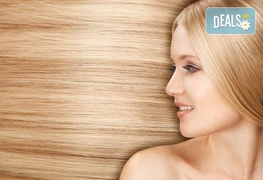 Свежо настроение в косите! Боядисване с боя на салона с подстригване и оформяне със сешоар в салон за красота Дъга - Снимка 1