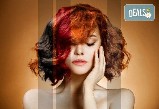 Свежо настроение в косите! Боядисване с боя на салона с подстригване и оформяне със сешоар в салон за красота Дъга - Снимка 2