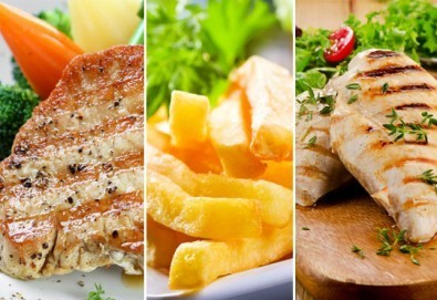 Вкусна скара за двама в ресторант BALITO! Две порции свински каренца или пилешко филе + зеле с моркови и картофи - Снимка