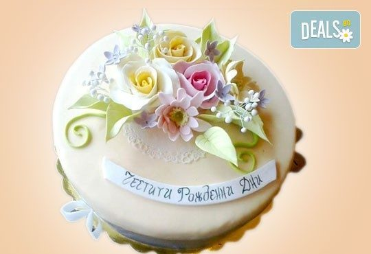 Празнична торта Честито кумство с пъстри цветя, дизайн сърце, романтични рози, влюбени гълъби или др. от Сладкарница Джорджо Джани - Снимка 17