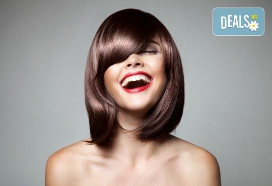 Грижа за красива коса! Кератинова терапия, масажно измиване и оформяне със сешоар в салон за красота Виктория - Снимка 1