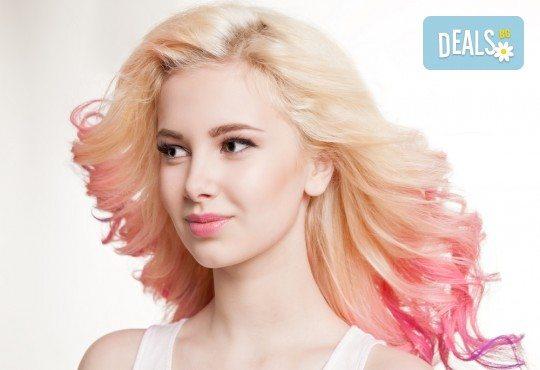Свежо настроение с цветни кичури с пигменти за руса коса - розови, сини, електрикови и оформяне със сешоар в студио Beauty, Лозенец! - Снимка 1