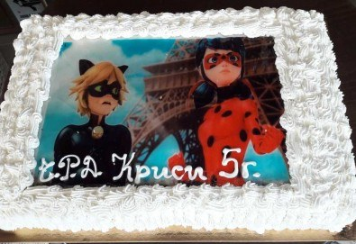Голяма детска торта 20 или 25 парчета със снимка на любим герой от Сладкарница Джорджо Джани! - Снимка