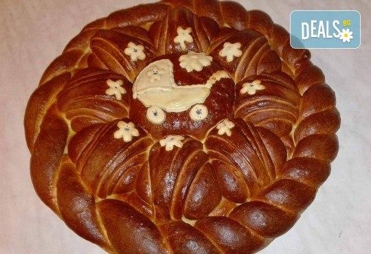 Сладка или солена погача (по избор) 1 или 2 кг с декорация за прощъпулник или кръщене от Работилница за вкусотии Рави! - Снимка 4