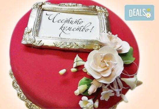 Празнична торта Честито кумство с пъстри цветя, дизайн сърце, романтични рози, влюбени гълъби или др. от Сладкарница Джорджо Джани - Снимка 1