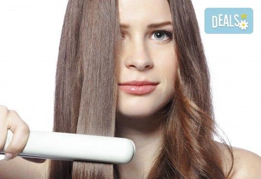 Грижа за суха и изтощена коса! Реконструираща терапия, измиване и оформяне с преса от салон за красота Ди Ес! - Снимка 2
