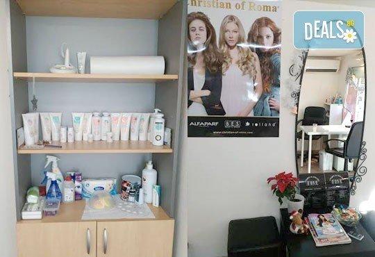 Подстригване, измиване, нанасяне на подхранваща маска Romantic и оформяне със сешоар в студио за красота Five! - Снимка 8