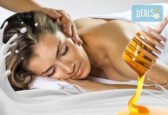 60 или 90-минутен СПА пакет Клеопатра - кралски източен масаж на цяло тяло, пилинг на гръб или цяло тяло с мед и мляко, масаж на глава и лице и Бонус! - Снимка 1