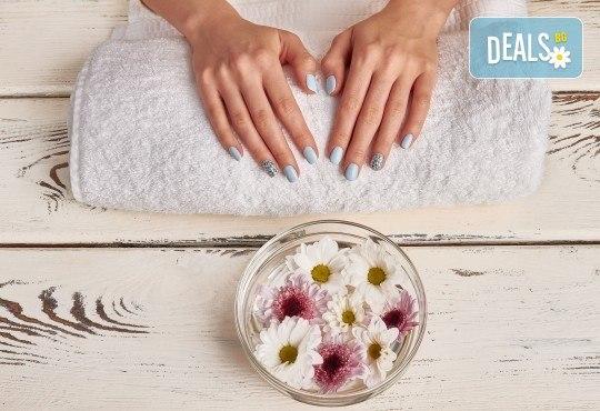 Перфектни ръце и крака! Маникюр и/или педикюр с BlueSky, 2 декорации и СПА терапия в салон за красота Женско Царство - Снимка 1