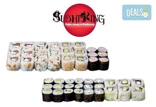 Вкусът на Изтока! Суши сет HAYABUSA с 96 броя суши хапки със сьомга, риба тон, авокадо, нори, манго и сирене Philadelphia от Sushi King! - Снимка 3