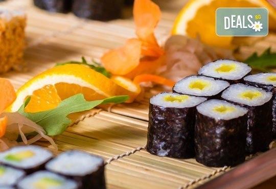 """Насладете се на 45 вегетариански суши хапки със сирене """"Philadelphia"""", манго, авокадо, нори и японски сосове от Sushi King! - Снимка 2"""