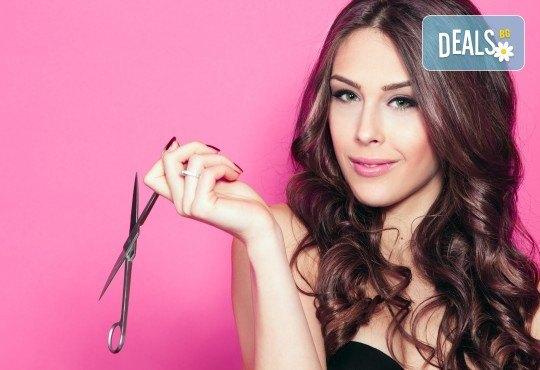 Възстановяваща грижа за блестяща коса! Ki Power терапия, подстригване и оформяне на прическа със сешоар в салон Хармония - Снимка 3