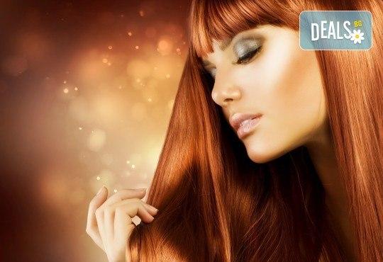 Нов цвят, нова прическа! Боядисване с боя на клиента, подстригване и оформяне със сешоар от салон за красота Сияние - Снимка 1