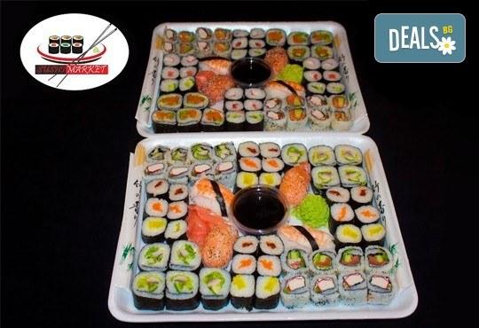 108 суши хапки с пушена сьомга, сурими раци, филаделфия и скариди, Sushi Market