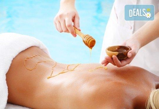 Меден детокс! 120-минутен SPA MIX - масаж с мед на гръб, антицелулитен масаж на бедра и козметичен масаж с мед на лице + бонус: йонна детоксикация GreenHealth - Снимка 2