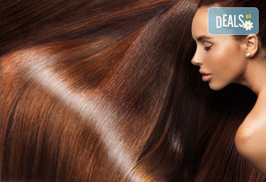 Освежете цвета на косата си! Масажно измиване и боядисване с боя на клиента в студио за красота Fabio Salsa - Снимка 3