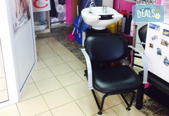 Кичури тип Балеаж, подстригване, масажно измиване, възстановяваща маска и прав сешоар в салон за красота Diva! - Снимка 6