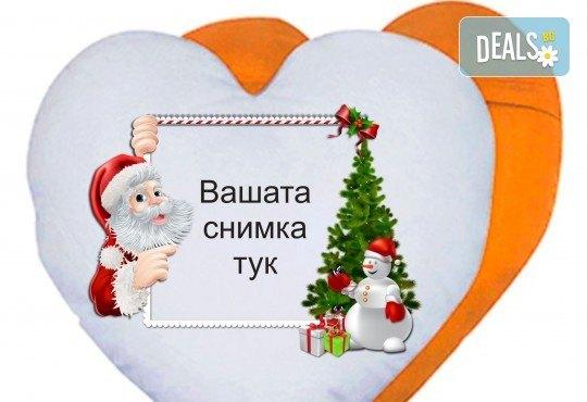 Подарете за празниците! Възглавница сърце със снимка на клиента и надпис пожелание от Офис 2 - Снимка 3