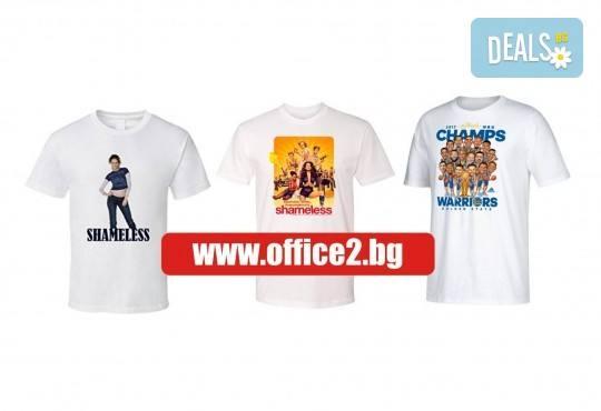 Тениска със снимка на клиента, лого и/ или надпис пожелание от Офис 2! - Снимка 1