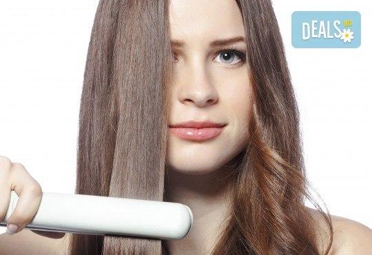 Подстригване, масажно измиване, йонизираща преса Iso Beauty, полиране на коса с полировчик, който предодвратява дългосрочно цъфтежите, и стилизиране със сешоар в салон Madonna! - Снимка 2