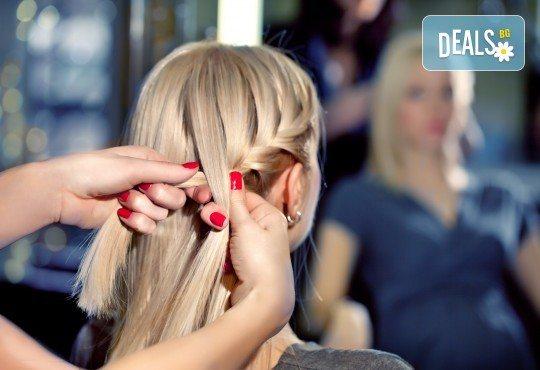 Подстригване с гореща ножица, масажно измиване с продукти на Milk Shake, терапия с инфраред и ултразвук преса, сешоар и плитка - тип диадема в студио Beauty, Лозенец! - Снимка 1