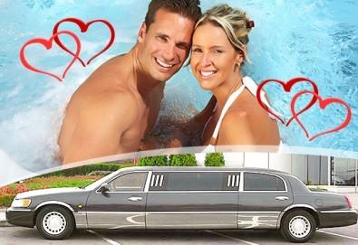 """Подарете SPA пакет """"San Diego""""! Трансфер с лимузина """"Lincoln"""" до Senses Massage & Recreation, синхронен масаж за двама, 2 чаши уиски, перлена вана и комплимент: ядки асорти от San Diego Limousines!"""