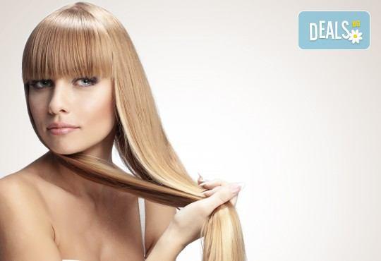 Подстригване, измиване, йонизираща преса, полиране с полировчик, за дълготрайно справяне с цъфтежите и защита на косата от ниските температури и стилизиране със сешоар в салон Madonna! - Снимка 1