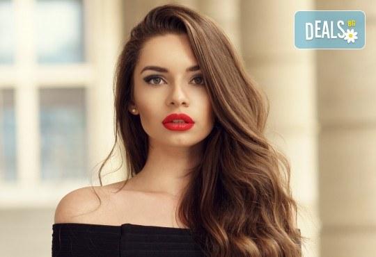 Здрава и блестяща коса с кератинова терапия и оформяне на прическа със сешоар в салон за красота Bellisima! - Снимка 1