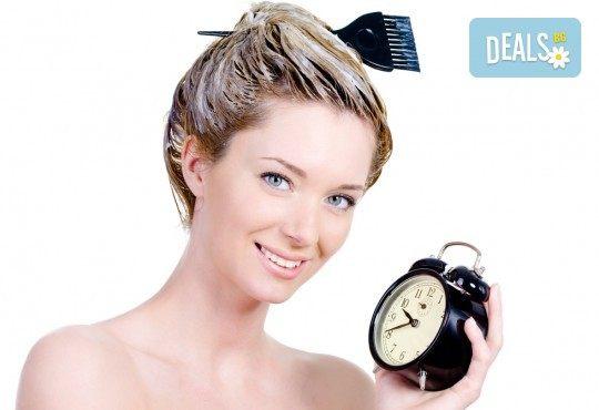 Нов цвят на косата! Боядисване с боя на клиента, масажно измиване и подсушаване в салон за красота Виктория - Снимка 2