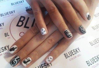 Любов към нотите! Маникюр за музиканти с гел лак BlueSky + 10 рисувани декорации в стил черно и бяло от Miss Beauty! - Снимка