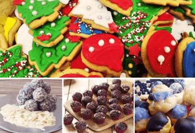 Празничен сет Коледно парти! 80 коледни сладки асорти: меденки с канела (елхички, декоративни топки, снежинки, коледни звезди), бели снежни топки с кокос, мъфини с шоколад и портокал, еклери с крем за празниците от Muffin House!
