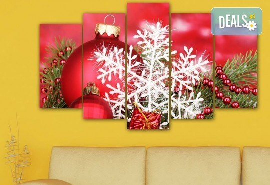 Коледна картина! 1 или 2 картини от по 5 части с коледни мотиви и богат избор на дизайни от каталога на Stardeko! - Снимка 2